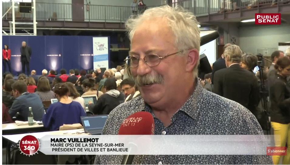 Rapport Borloo - Marc Vuillemot, maire de la Seyne-sur-Mer et président de l'association Ville & Banlieue, s'exprime au micro de Public Sénat
