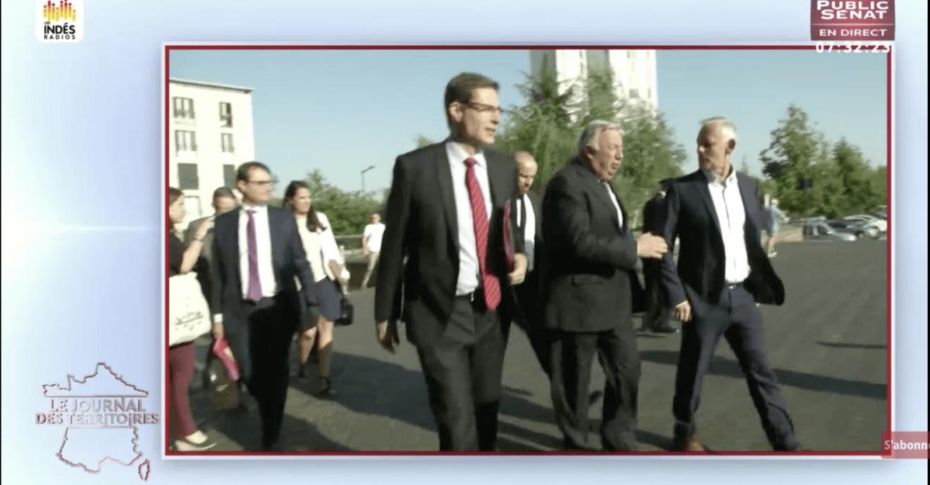 Gérard Larcher président du Sénat reçu par Gilles Leproust, à Allonnes (72)