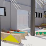 image de synthèse de l'aménagement intérieur du projet par le cabinet de designers Bureau Baroque