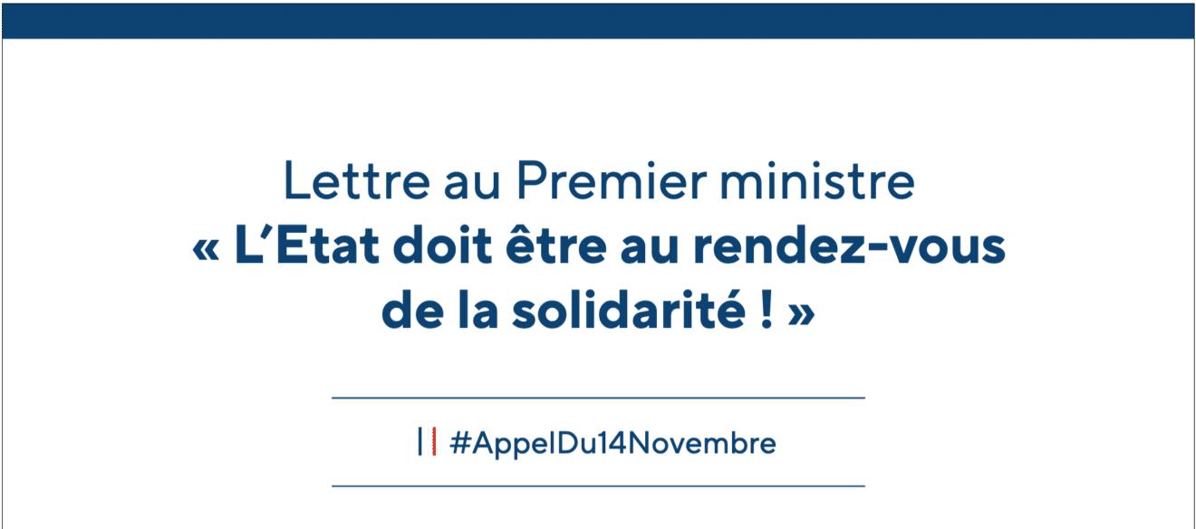 Lettre au Premier ministre - L'Etat doit être au rendez-vous de la Solidarité #Appel du 14 novembre