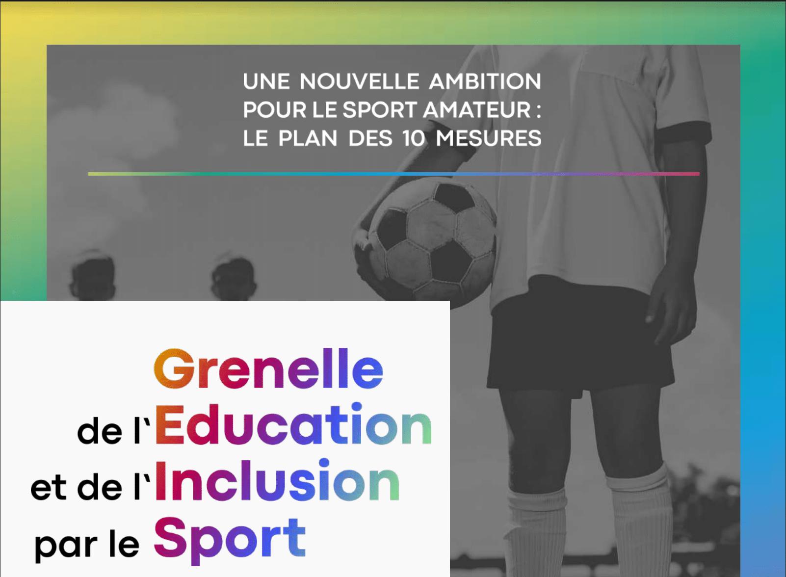 Le plan des 10 mesures du Grenelle de l'éducation et de l'inclusion par le sport